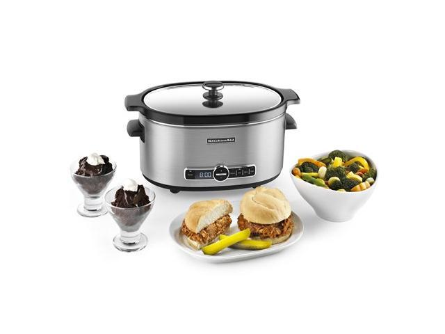 KitchenAid KSC6223SS Stainless Steel 6 Qt. 6-Quart Slow Cooker with Solid Glass Lid