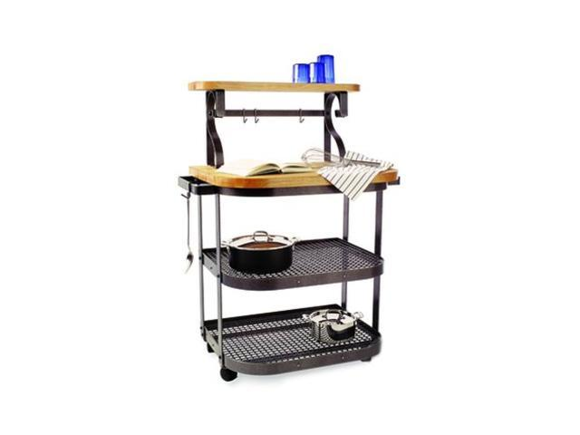 Enclume Hammered Steel Maple Baker's Cart, Hammered Steel