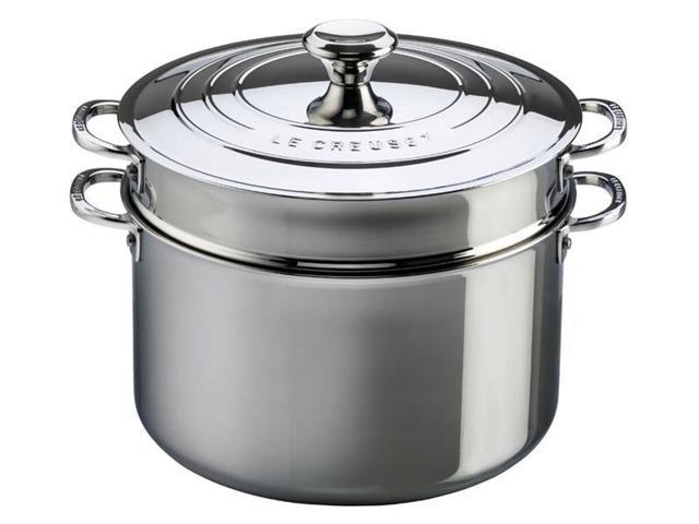 Le Creuset 9-qt. Stainless Steel Stockpot with Lid and Deep Colander Insert