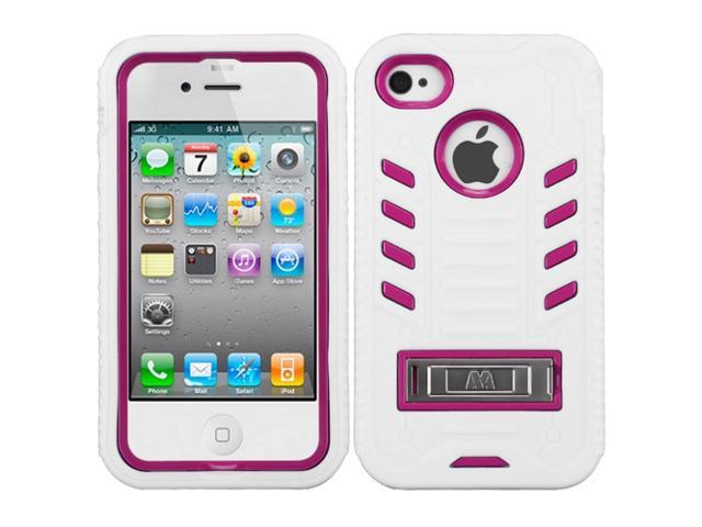 Hot Pink/White Silicone +Hard Cover Case +Metal Stand for iPhone 4 4S