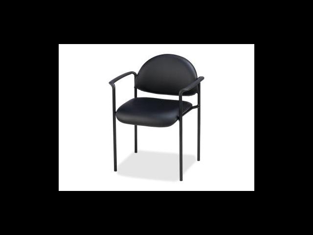 Lorell Reception Guest Chair Vinyl Black Seat - Vinyl Back - Steel Frame