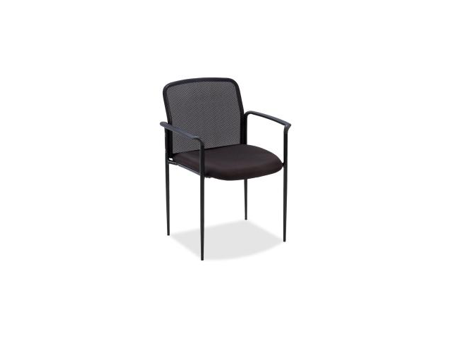 Lorell Reception Side Guest Chair Black Seat - Mesh Back - Steel Frame