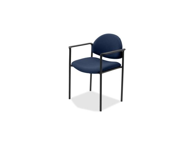 Lorell Reception Guest Chair Fabric Blue Seat - Fabric Back - Steel Frame