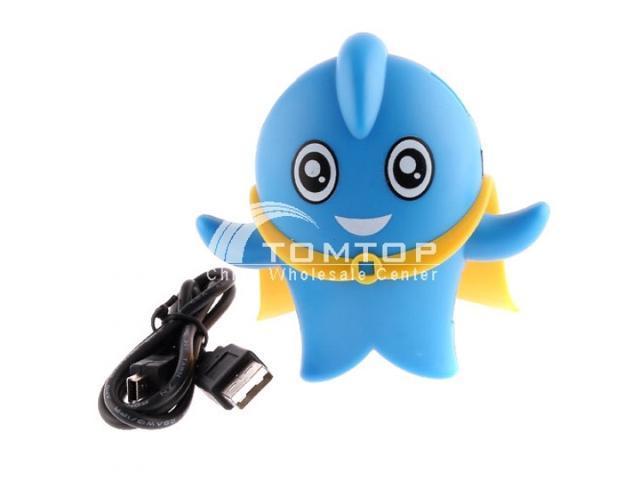 Lovely Cartoon Character USB2.0 High-speed 4 Port HUB -- Blue