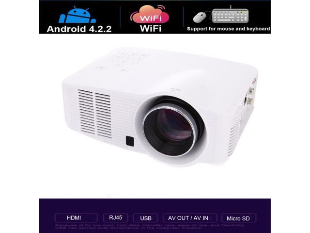 1800 Lumens Full HD Android 4.2.2 3D Wifi Smart LED Projector Miracast DLAN Airplay EZcast with RJ45 Ports