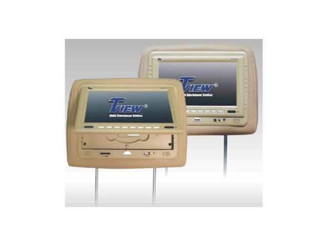 Tview T929dvpltan 9 Dual Tan Headrest Widescreen Monitors W/ Dvd Player