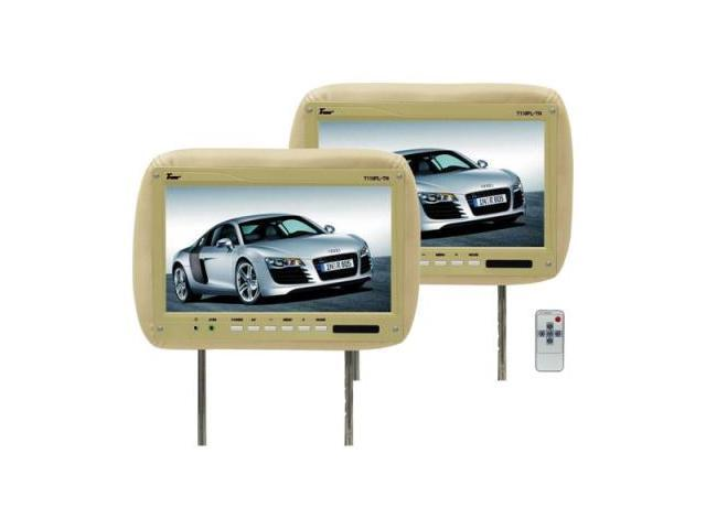 Tview T110pltan 11.2 Tan Car Headrest Widescreen Lcd Monitors W/ Remotes