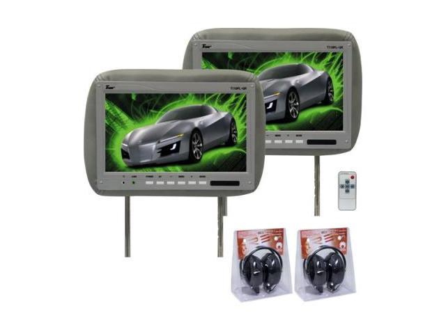 Tview T110plgr 11.2 Gray Car Headrest Widescreen Lcd Monitors W/ Remotes