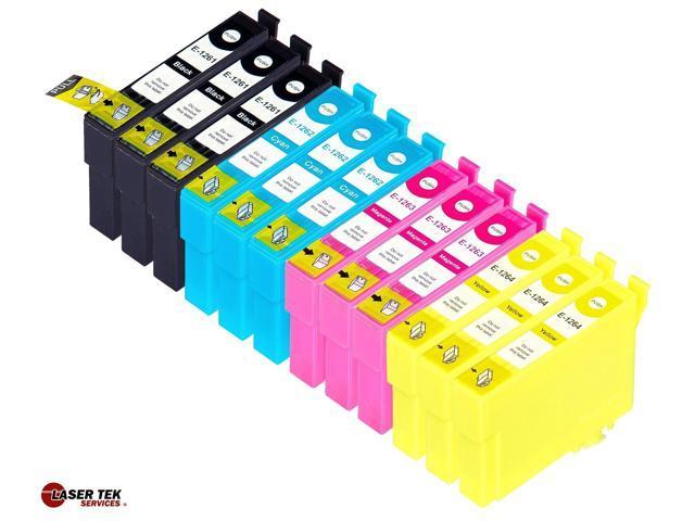 Laser Tek Services? 12 Pack of Epson T126 Replacement Ink Cartridges (3BK, 3C, 3M, 3Y)