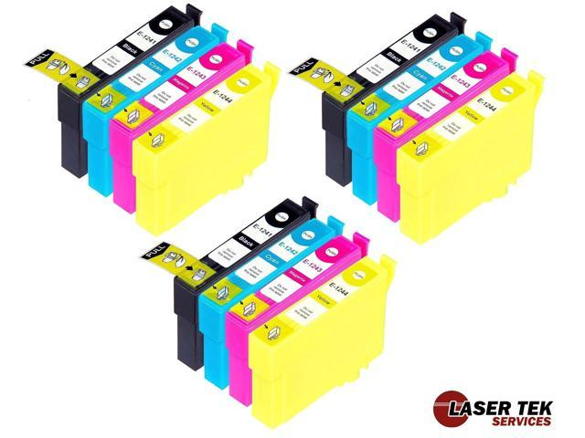 Laser Tek Services® 12 Pack of Epson T124 Replacement Ink Cartridges (3BK, 3C, 3M, 3Y)