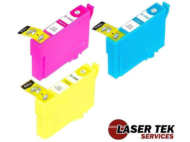 Laser Tek Services® 3 Pack of Epson T124 Replacement Ink Cartridges (1C, 1M, 1Y)