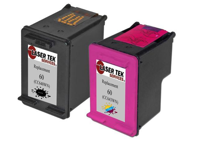 Laser Tek Services® HP 60 Compatible Replacement Ink Two Pack (1 Black CC640WN and 1 Tri-Color CC643WN)