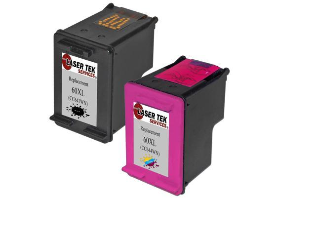 Laser Tek Services® HP 60XL Compatible High Yield Replacement Ink Two Pack (1 Black CC641WN and 1 Tri-Color CC644WN)