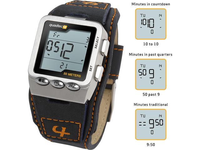 Quadtec Digital Watch With Stainless Steel Case And Nylon Strap