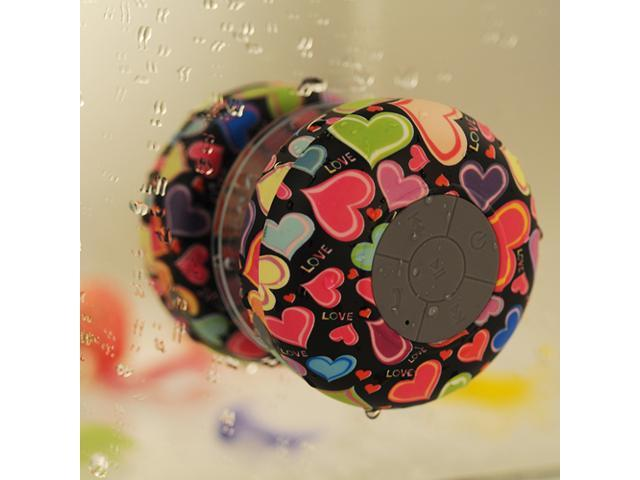 Heart-shaped Mini Waterproof Bluetooth 3.0 Speaker 3W Shower Pool Car Handsfree Speakers with Suction Cup For Samsung Galaxy S5 S4 S3 iPhone 6 6 ...