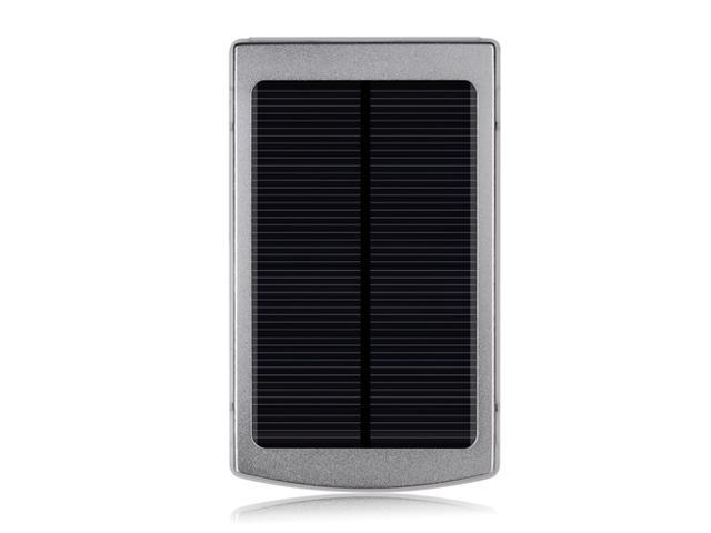Silver Portable 10000mAh Solar Power Panel Power Bank Dual USB External Mobile Battery Charger For iPhone 6 5S 5C 5 4S iPad 4 3 2 ...
