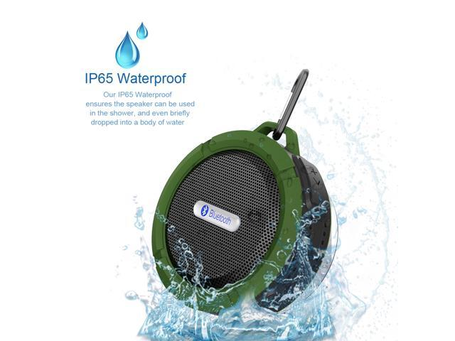 Green Rechargeable Mini 5W Waterproof Shockproof Dustproof Bluetooth Wireless A2DP Stereo Bluetooth 3.0 Hands-free Speaker with Suction Cup and ...