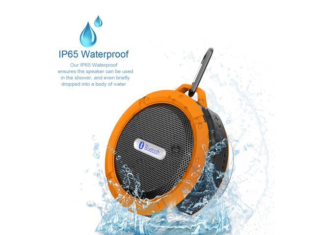Orange Rechargeable Mini 5W Waterproof Shockproof Dustproof Bluetooth Wireless A2DP Stereo Bluetooth 3.0 Hands-free Speaker with Suction Cup and ...