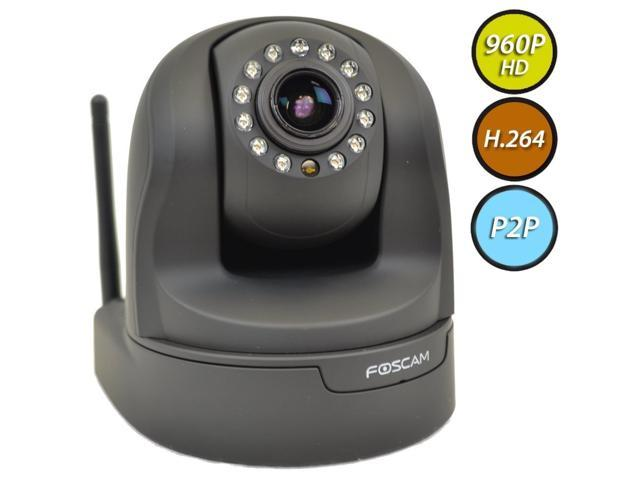 Foscam Plug and Play FI9826P (Black) 1.3 Megapixel (1280x960p) 3x Optical Zoom H.264 Pan/Tilt Wireless IP Camera