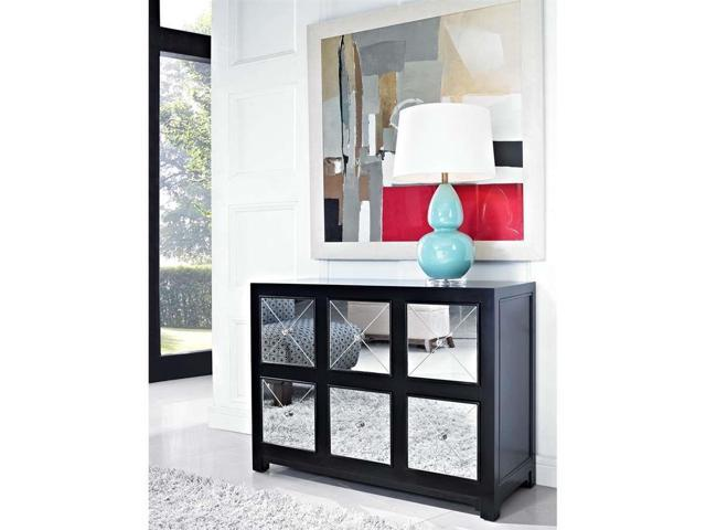 Powell Mirrored 6-Drawer Black Wood Console - 233-660