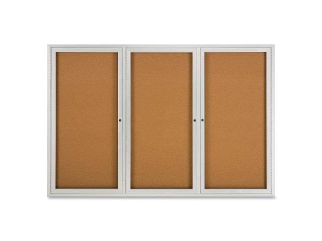 Enclosed Bulletin Board, Natural Cork/Fiberboard, 72 X 48, Aluminum Fr