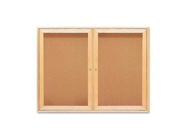 Enclosed Bulletin Board, Natural Cork/Fiberboard, 48 X 36, Oak Frame