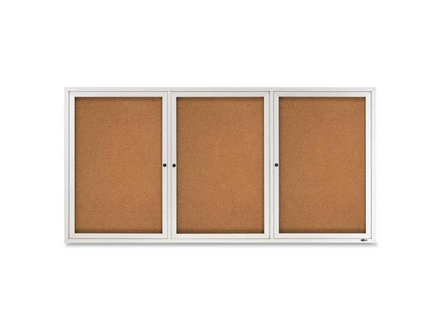 Enclosed Bulletin Board, Natural Cork/Fiberboard, 72 X 36, Aluminum Fr