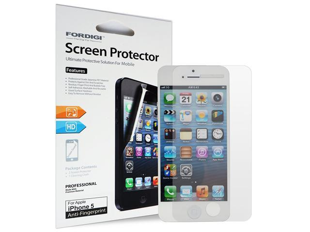 FORDIGI iPhone 5 Anti-Fingerprint Screen Protector with Lifetime Replacement Warranty (2-Pack) [AT&T, Verizon, Sprint and International]