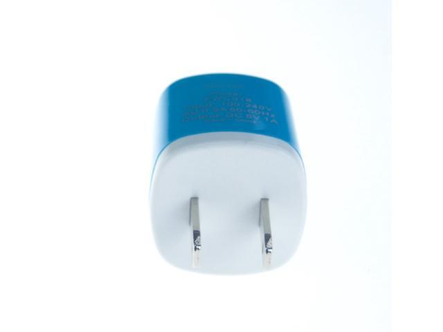 5 Pack 2-Tone (Light Blue) Color USB AC Home Wall Travel Charger Adapter for iPhone 5 5S 5C, iPad 2 3 4, iPad Air, iPad ...