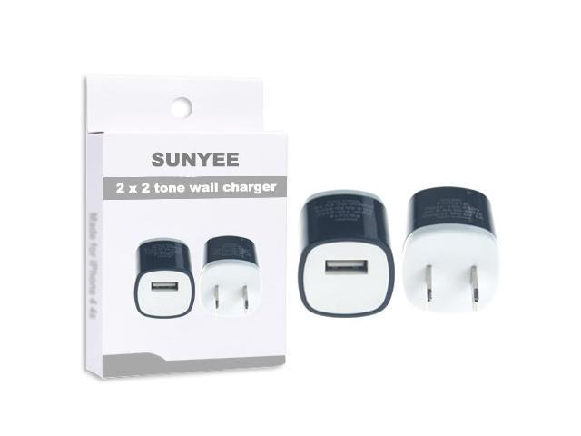 2 Pack 2-Tone (black)Color USB AC Home Wall Travel Charger Adapter for iPhone 5 5S 5C, iPad 2 3 4, iPad Air, iPad Mini