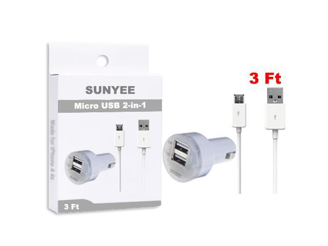 SUNYEE (white) Dual USB Car Charger + 3 Ft. Micro USB Cable - Bulk Packaging