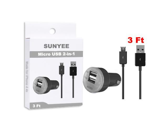 SUNYEE (black) Dual USB Car Charger + 3 Ft. Micro USB Cable - Bulk Packaging
