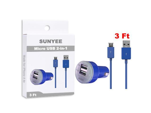 SUNYEE (Blue Dual USB Car Charger + 3 Ft. Micro USB Cable - Bulk Packaging