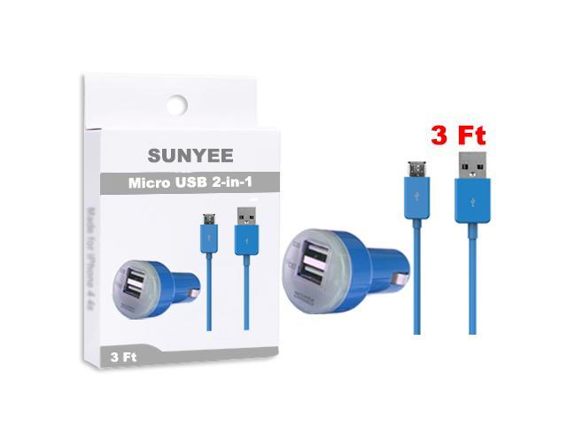 SUNYEE (Light Blue) Dual USB Car Charger + 3 Ft. Micro USB Cable - Bulk Packaging