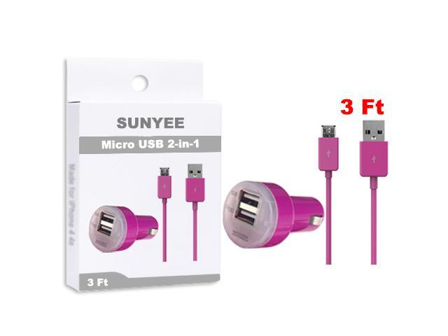 SUNYEE (hot pink) Dual USB Car Charger + 3 Ft. Micro USB Cable - Bulk Packaging