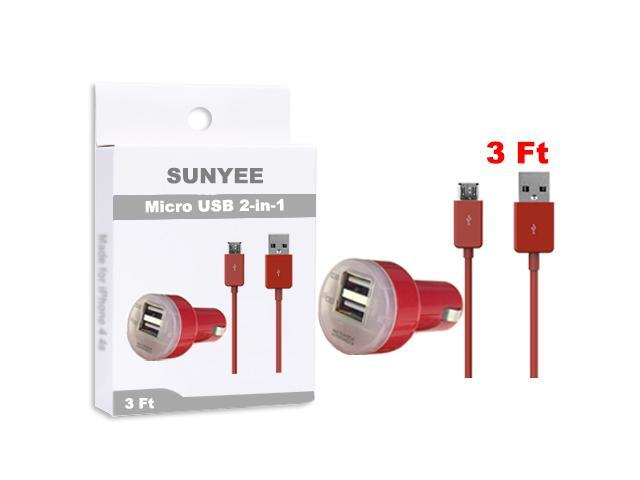 SUNYEE (Red) Dual USB Car Charger + 3 Ft. Micro USB Cable - Bulk Packaging