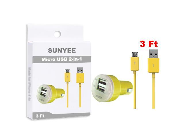 SUNYEE (Yellow) Dual USB Car Charger + 3 Ft. Micro USB Cable - Bulk Packaging