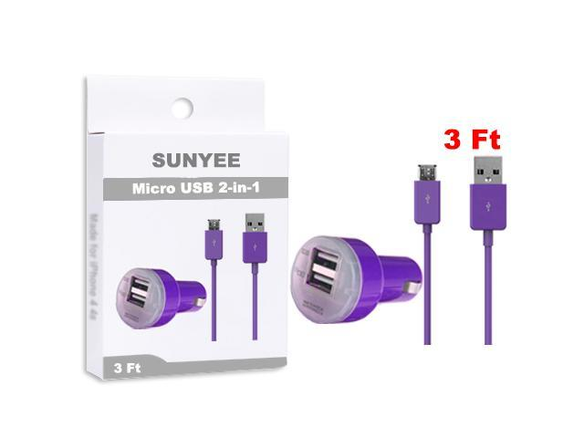 SUNYEE (Purple) Dual USB Car Charger + 3 Ft. Micro USB Cable - Bulk Packaging