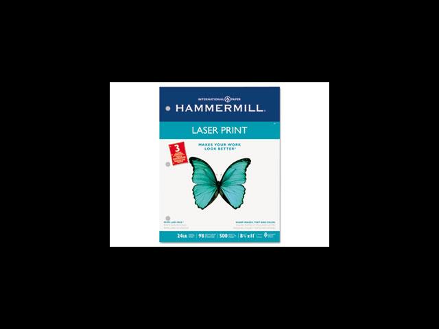 Hammermill Laser Print Office Paper, 3-Hole Punch, 98 Brightness, 24lb, Ltr, White, 500/Rm