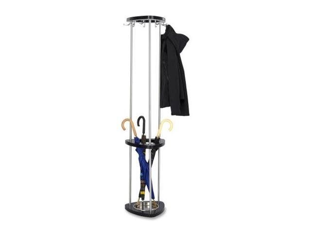 Mode Wood Costumer With Umbrella Stand, Stand Alone, Nine Hooks, Black