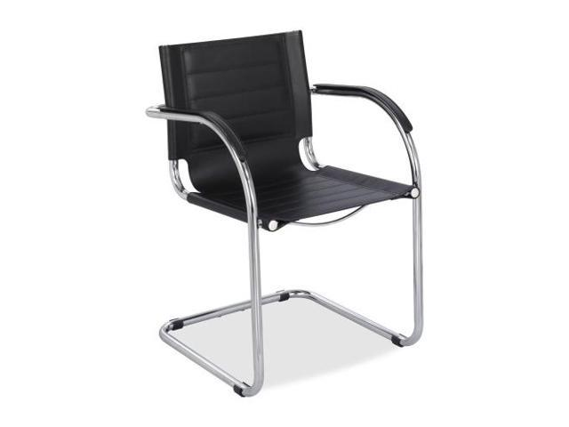 Flaunt Series Guest Chair, Black Leather/Chrome