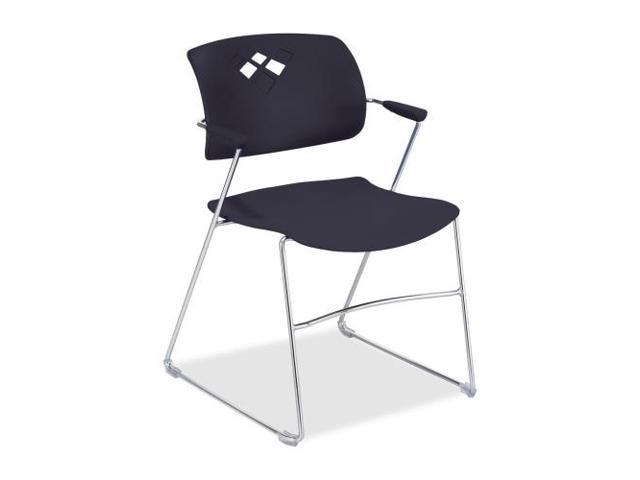 Veer Series Stacking Chair With Arms, Sled Base, Black/Chrome, 4/Carto