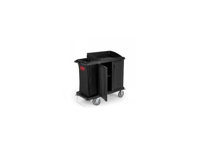 Compact Housekeeping Cart W/Vinyl Bag,Black (1)