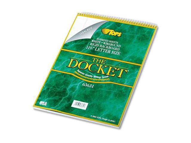 Docket Wirebound Ruled Pad W/Cover, Legal Rule, Ltr, White, 70 Sheets/