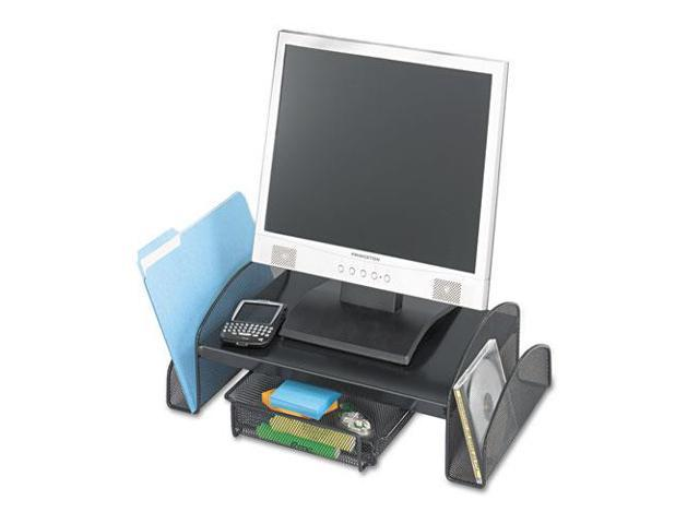 Onyx Mesh Steel Monitor Stand, 19 1/2 X 11 X 6 1/4, Black