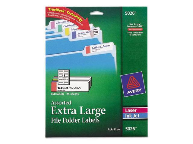 Extra-Large 1/3-Cut File Folder Labels, 15/16 X 3-7/16, White/Assorted