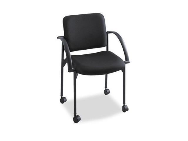 Moto Series Stacking Chairs, Black Fabric Upholstery, 2/Carton