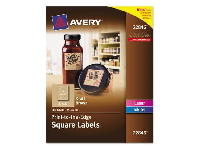 Square Print-To-The-Edge Labels W/Trueblock, 2 X 2, Kraft Brown, 300/P