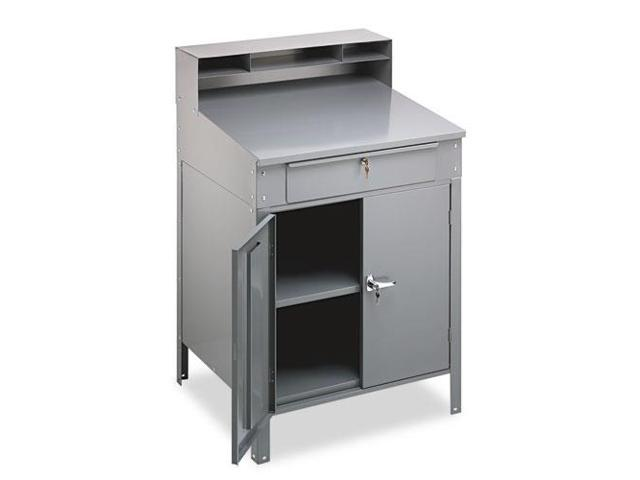 Steel Cabinet Shop Desk, 36W X 30D X 53-3/4H, Medium Gray