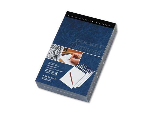 Docket Diamond Junior Legal Ruled Pads, 5 X 8, White, 4 50-Sheet Pads/